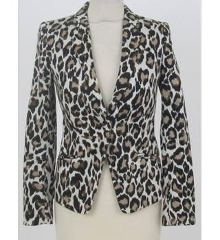 Mango Size XS Cream with black/brown leopard prints pattern Jacket