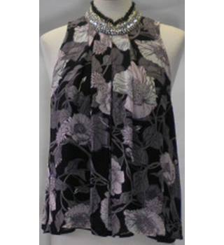 BNWT River Island Size 10 black and pink floral halter neck top