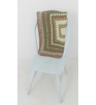 Cute Brown Green & Cream Handmade Crochet Square