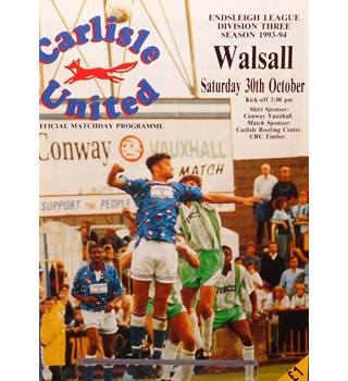 Carlisle United v Walsall - Division 3 - 30th October 1993