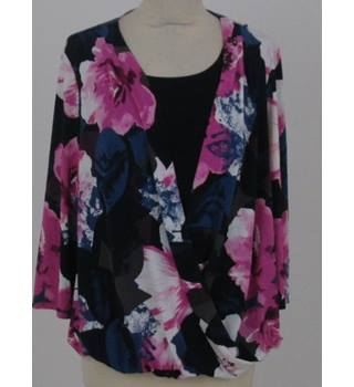 Nightingales Size 14 Navy Blue with pink floral two-in-one blouse and top