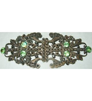 Vintage Victorian Diamante Two Part Belt Clasp