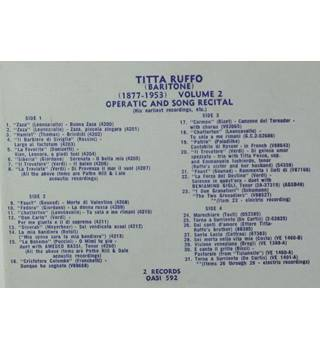 Titta Ruffo - Operatic and Song Recital Vol.2 - OASI 592