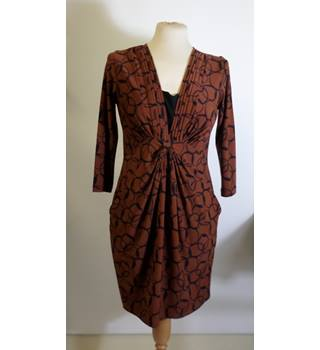 LAURA ASHLEY BROWN PRINT KNOT DRESS
