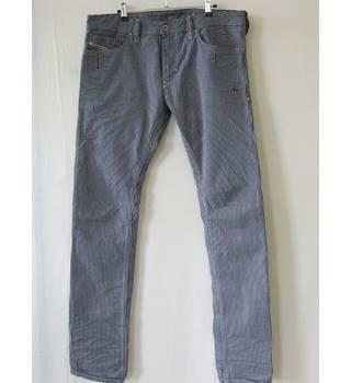 "50% OFF SALE 7 For All Mankind Navy and White Striped Denim Trousers W34 7 For All Mankind - Size: 34"" - Multi-coloured - Jeans"