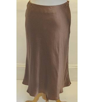 Coast polka dot silk skirt- Size: 8 - Brown