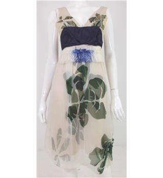 Vera Wang size 12 cream mix silk floral print dress