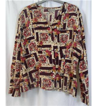 Anne Brookes Petite size 16 burgundy and beige floral patterned blouse