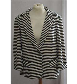 Encuentro: Size 14 Black and Cream Horizontally Striped Jacket