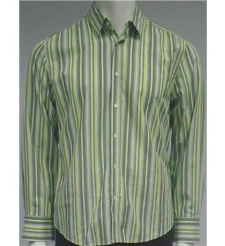 River Island - Size M - Green, Lime and Grey Striped Slim Fit Shirt