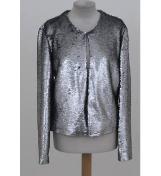 Hand made by Diana, size L metallic silver jacket