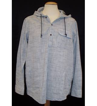 BNWT Cotton Traders Size S  Hooded grey and white striped long sleeved shirt