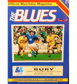 Carlisle United v Bury - Division 3 - 1st September 1992
