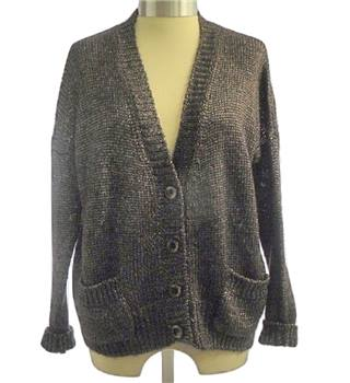 BNWT Benetton - Size XS - Dark bronze with metallic silver long-sleeve cardigan