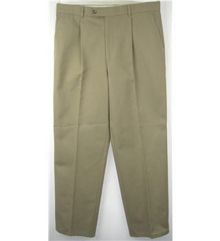"Gurteen Size 36"" Cream Cotton Trousers"