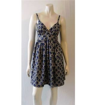 Topshop - size: 12, black with blue circle and white dot pattern sleeveless dress