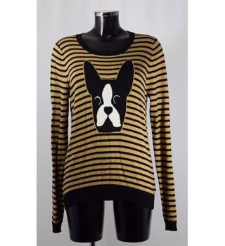 Dickins and Jones Jumper - Dog Design with Brown Stripes - Size L Dickins and Jones - Size: L - Brown