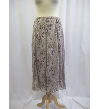 Patra - Size: L - Multi-coloured - 100% Silk - Calf length skirt