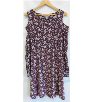 Liquorish Size 8 Dark Pink with Cream and Blue Floral Dress