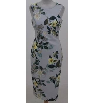 Per Una Size 8 Grey with green and yellow floral pattern dress