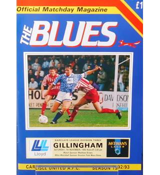 Carlisle United v Gillingham - Division 3 - 7th November 1992