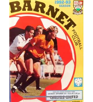 Barnet v Carlisle United - Division 3 - 5th September 1992