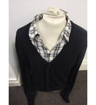 Nerd Cool, and it's by Crafted! Black  Cardigan with shirt inset