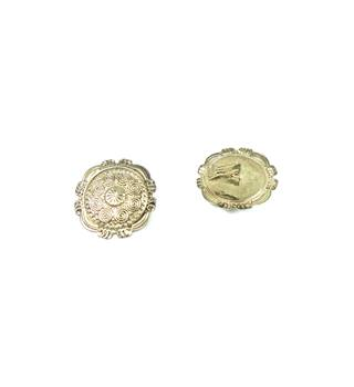 Silver tone round textured shield clip-on earrings