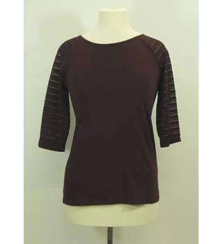 Dorothy Perkins Burgandy Mid-Length Sleeved Top Size 10 Dorothy Perkins - Size: 10