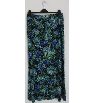 MINUET PETITE Green / Blue 'Tropical Print' Calf-Length Skirt UK Size 14