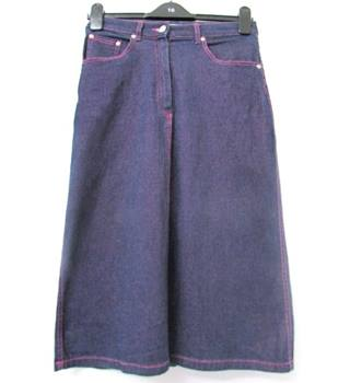 Oasis - Size: S - Blue denim and pink - Knee length skirt