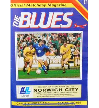 Carlisle United v Norwich City - League Cup 2nd Round 1st Leg - 22nd September 1992