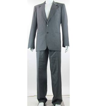 "Giorgio Armani - Size: M 40"" - Grey/Orange - Single Breasted Pinstripe Suit and Trousers Set"