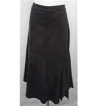 Per Una size 14R brown panelled long suedette skirt