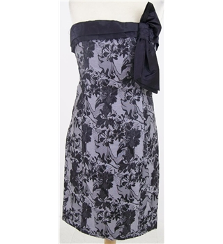 BNWT MK One, size 8 silver-grey & black floral strapless dress