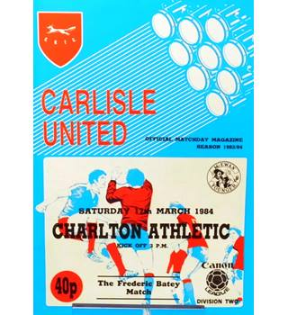Carlisle United v Charlton Athletic - Division 2 - 17th March 1984