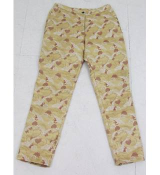 "ASOS - Size: 26"" waist yellow/gold with bird patterns cropped trousers"