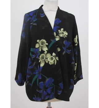 Monsoon Size: L Black with purple, yellow and brown floral pattern jacket