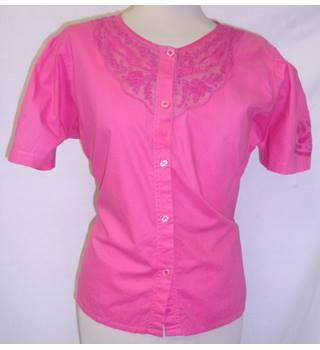 Principles (Look East) - Size: 14 - Flamingo Pink - Button-Up Blouse - Short-Sleeved