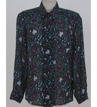 Jacques Vert  size 12  grey with purple and black based abstract pattern blouse