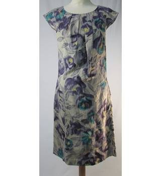Laura Ashley - Purple/grey floral shift - Linen dress size 8
