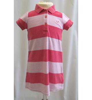 Crew Clothing Co Age 3 - 4 Years - Pink and Red Striped Toweling Dress