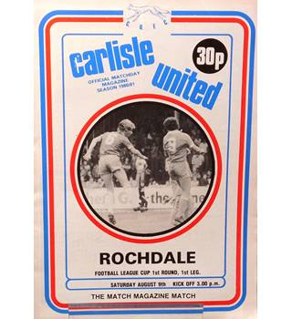 Carlisle United v Rochdale - League Cup 1st Round 1st Leg - 9th August 1980
