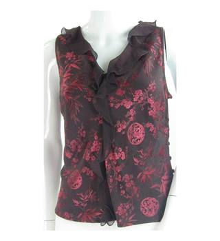 Monsoon - Size 16 - Burgundy Red Floral Frill Top
