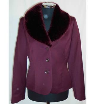 Precis Petite Size 10 Purple with Detachable Faux Fur Collar Jacket