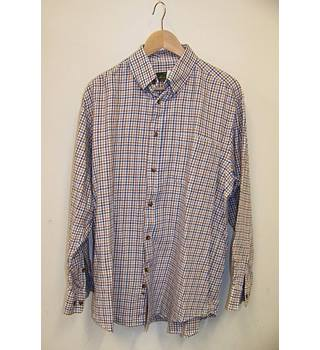 Orvis - Size: L - Blue and Brown Chequered Long Sleeved Shirt