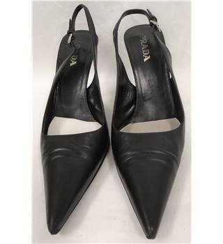Prada, size 4/37 black leather slingbacks