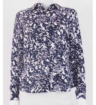 Marks & Spencer Autograph Navy / White Patterned Long Sleeved Blouse Size UK Size 8 / Euro Size 36