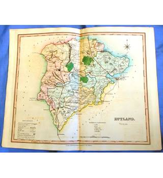 ca. 1830 Hand-coloured Map of Rutland. Published by Henry Teesdale & Co.