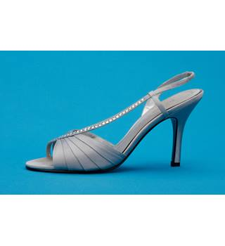 "BANDOLINO - Silver Satin - Ladies Stiletto Heeled Open Toes Shoes - Size: 7.5"" M UK"